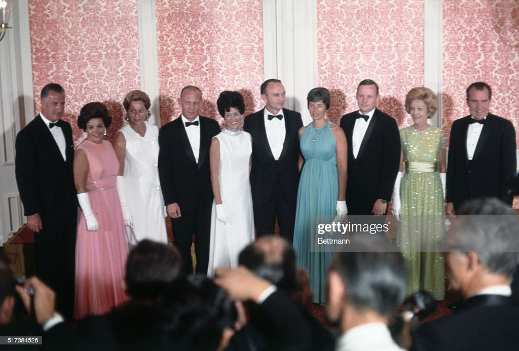 President and Mrs. Nixon and Vice-President and Mrs. Agnew pose with their guests of honor, the Apollo 11 astronauts and their wives before the state dinner at the Century Plaza Hotel. From left are the Agnews, the <a gi-track='captionPersonalityLinkClicked' href=/galleries/search?phrase=Buzz+Aldrin&family=editorial&specificpeople=90480 ng-click='$event.stopPropagation()'>Buzz Aldrin</a>s, the <a gi-track='captionPersonalityLinkClicked' href=/galleries/search?phrase=Michael+Collins+-+Astronaut&family=editorial&specificpeople=95470 ng-click='$event.stopPropagation()'>Michael Collins</a>es, the <a gi-track='captionPersonalityLinkClicked' href=/galleries/search?phrase=Neil+Armstrong&family=editorial&specificpeople=92197 ng-click='$event.stopPropagation()'>Neil Armstrong</a>s, and the Nixons.