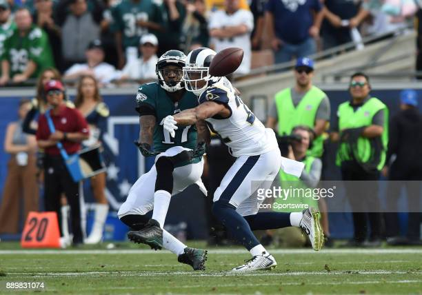 Los Angeles Rams Cornerback Trumaine Johnson breaks up a pass intended for Philadelphia Eagles Alshon Jeffery during an NFL game between the...