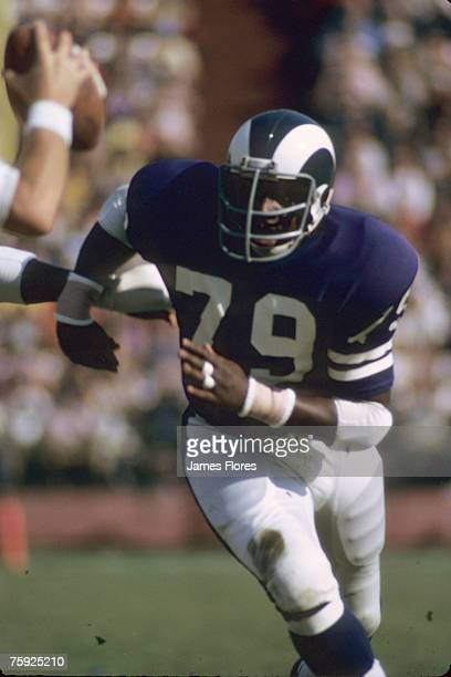 Los Angeles Rams defensive tackle Coy Bacon puts on a heavy pass rush during the Rams 4541 loss to the Minnesota Vikings on November 19 1972 at the...
