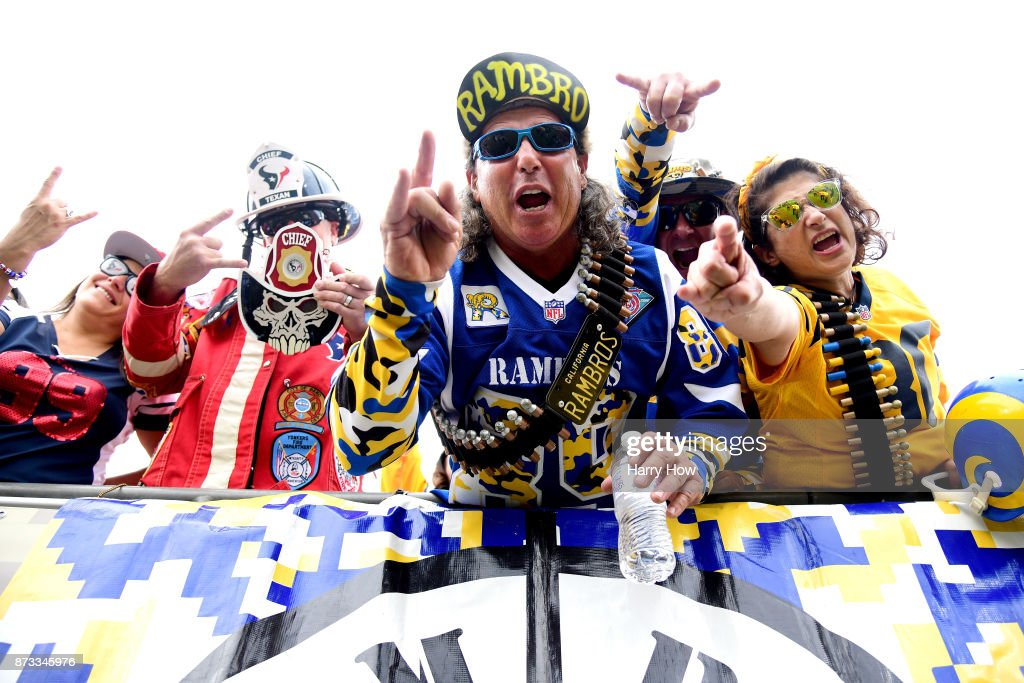 Los Angeles Rams fans are seen during the game against the Houston Texans at the Los Angeles Memorial Coliseum on November 12, 2017 in Los Angeles, California.