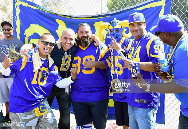 Los Angeles Rams fans tailgate prior to the start of the game between the Los Angeles Rams and the Seattle Seahawks at Los Angeles Coliseum on...