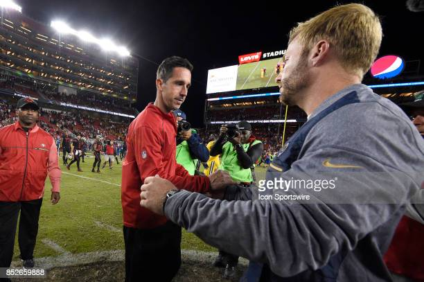Los Angeles Rams head coach Sean McVay and San Francisco 49ers head coach Kyle Shanahan shake hands after an NFL game between the Los Angeles Rams...