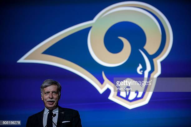 Los Angeles Rams owner Stan Kroenke addresses a press conference at Forum to celebrate and welcome team to Los Angeles