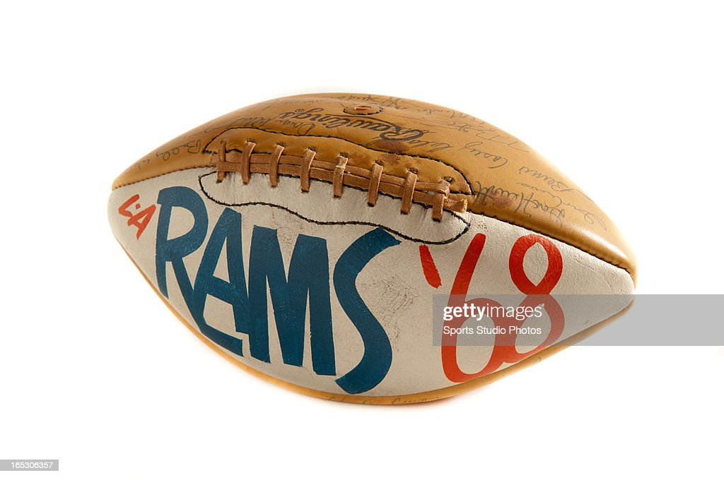 Los Angeles Rams Trophy Football.1968 Los Angeles Rams trophy ball made by Rawlings Sporting Goods.
