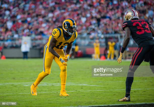 Los Angeles Rams wide receiver Sammy Watkins gets set during the regular season game between the San Francisco 49ers and the Los Angeles Rams on...
