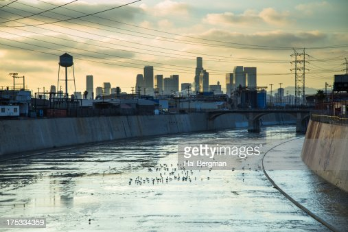 Los Angeles River and Downtown Skyline : Stock Photo