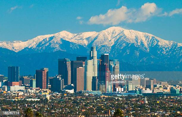 Los Angeles skyline and San Gabriel Mountains