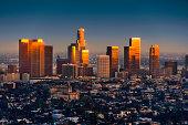 Los Angeles skyline at sunset thru smog and atmosperic distortion
