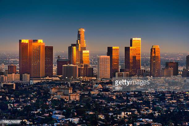 Los Angeles skyline at sunset thru smog and atmosperic distortion
