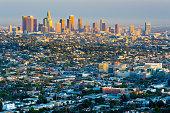 Looking over the urban sprawl towards the skyline of Los Angeles, California, USA.