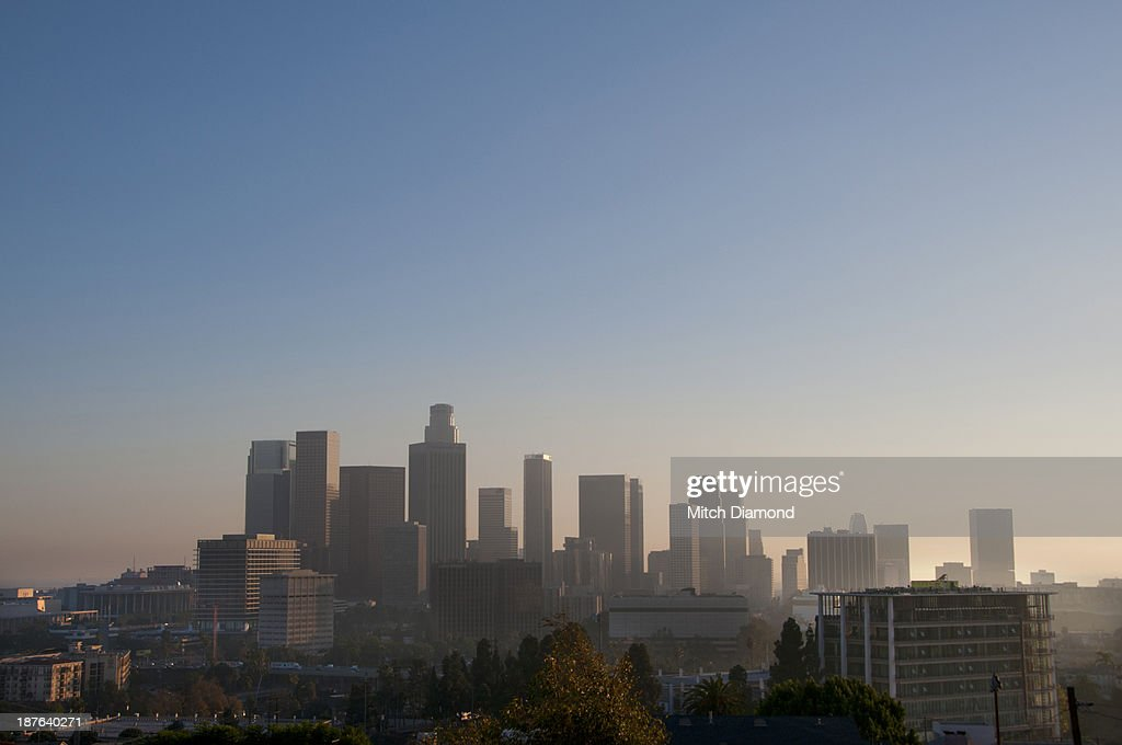 Los Angeles skyline in the late afternoon : Stock Photo