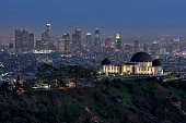 Los Angeles skyline with the Griffith Observatory in the foreground