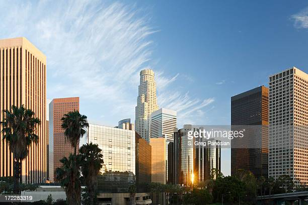 Los Angeles skyline with the reflection of the sunrise