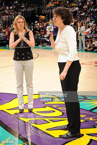 Los Angeles Sparks coowners Katherine Goodman and Carla Christofferson welcome the fans before the Sparks home opener against the Phoenix Mercury on...