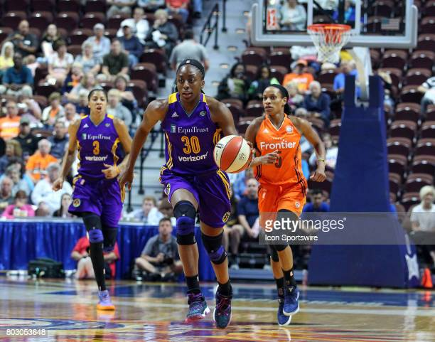 Los Angeles Sparks forward Nneka Ogwumike fast breaks during the first half of an WNBA game between Los Angeles Sparks and Connecticut Sun on June 27...