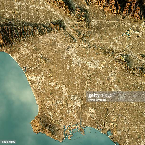 Los Angeles Topographic Map Natural Color Top View
