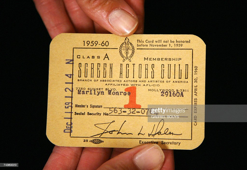 A Marilyn Monroe's Screen Actors Guild membership card from 1959-1960 is shown 30 May 2007 before an auction 04 June 2007 at Bonhams and Butterfields in Los Angeles. Issued to the star for that year with her named typed on the front left-side, her Social Security number is noted below. AFP PHOTO/GABRIEL BOUYS