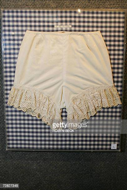 A pair of Judy Garland's bloomers from 'Summer Stock' are on display at a preview of the upcoming entertainment memorablia auction at Bonhams and...