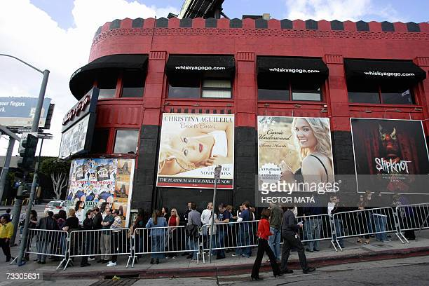 Fans queue at the Whisky a GoGo to attend a concert by 'The Police' in West Hollywood California 12 February 2007 After a presentation at the 49th...
