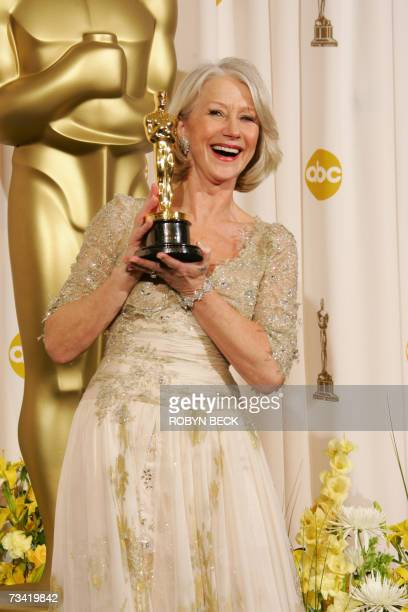 Helen Mirren the winner for Best Actress for her work in 'The Queen' poses with her Oscar trophy at the 79th Academy Awards in Hollywood California...