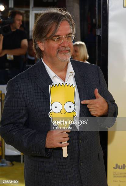 Matt Groening creator of The Simpsons poses for photographers as he arrives for the World Premiere of 20th Century Fox's animated feature film 'The...