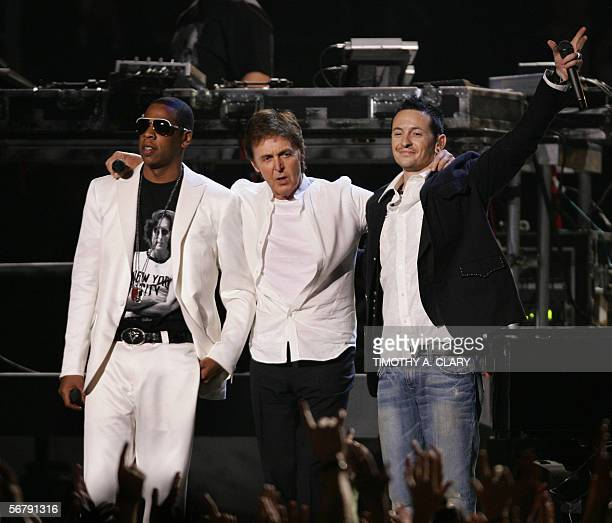 Paul McCartney JayZ and Chester Bennington of Linkin Park perform during the 48th Annual Grammy Awards 08 February 2006 at the Staples Center in Los...
