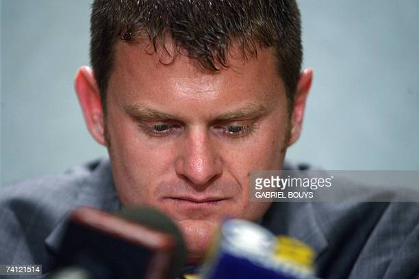 Tour de France 2006 champion Floyd Landis of the US gives a press conference 10 May 2007 in Los Angeles California Landis said a US AntiDoping Agency...