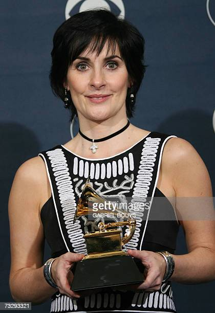Winner for Best New Age Album Enya poses with the trophy at the 49th Grammy Awards in Los Angeles 11 February 2007 AFP PHOTO/Gabriel BOUYS