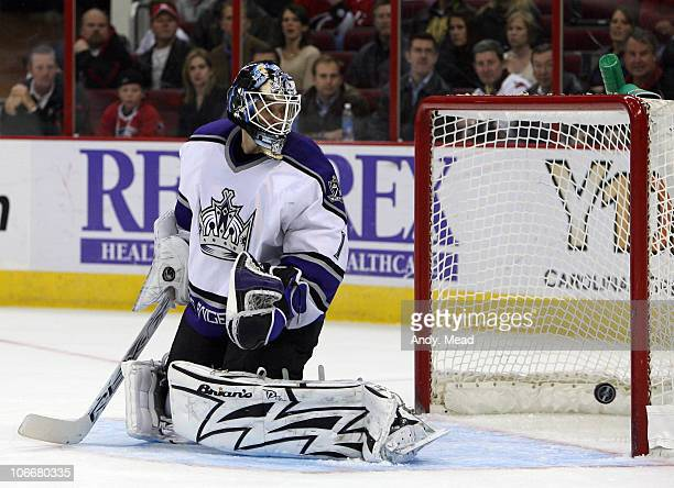 Los Angeles's Sean Burke watches a shot by Carolina's Scott Walker score a goal at 1446 of the second period on Tuesday February 13 2007 at the RBC...