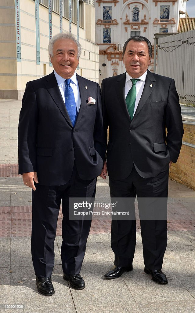 'Los del Rio' Antonio Romero Monge (L) and Rafael Ruiz (R) attend title of 'Favorite Son of Andalucia' ceremony at Maestranza Theatre on February 28, 2013 in Seville, Spain.