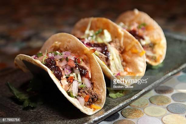 Los Fundamentos Beef Tacos Lettuce Pic De Gailo House Blend Cheese Ancho and Taco sauce choice of crisp corn corn masa flour at Scorpion Bar at...