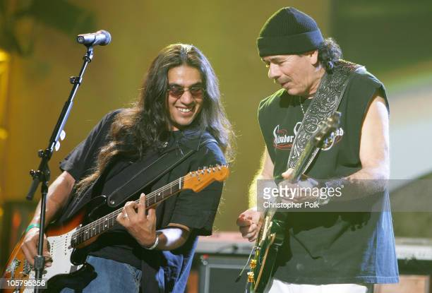 Los Lonely Boys and Carlos Santana during 33rd Annual American Music Awards Rehearsals Day Three at Shrine Auditorium in Hollywood California United...