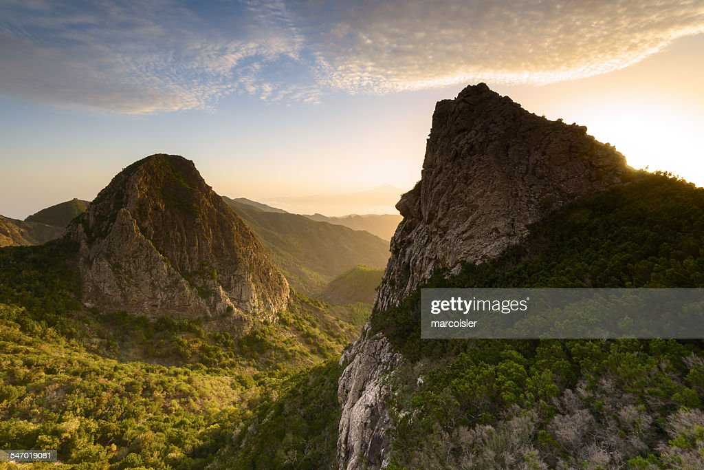 Los Roques at sunrise, La Gomera, Canary Islands, Spain