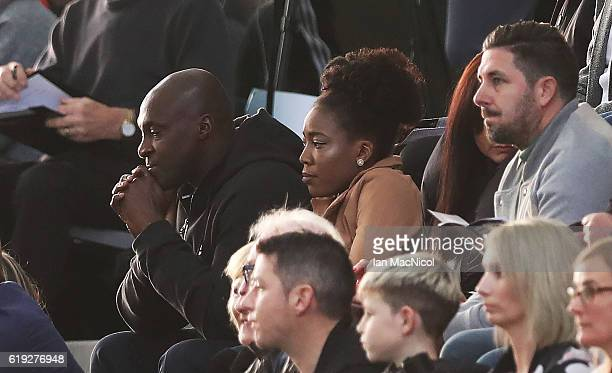 Lossissen Dembele the father and Macolua Dembele the sister of Karamoko Dembele are seen during the Scotland v Northern Ireland match during the U16...