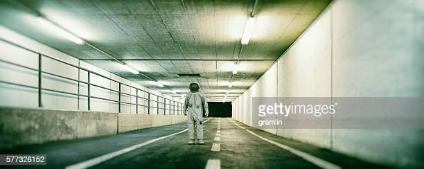 Lost astronaut in underground passage