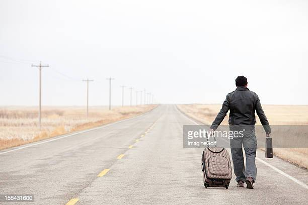 Lost Business Traveler on Desolate Highway