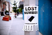 Lost number on light post in city