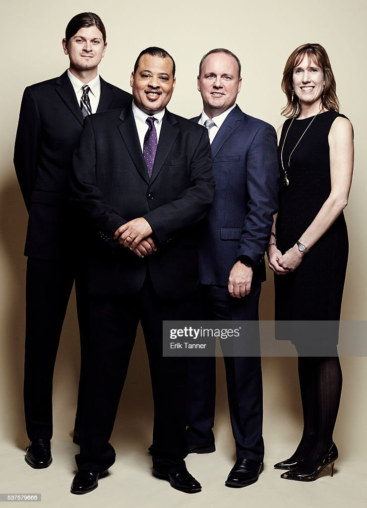 'Lost on the Line' Philip Kish Jeffrey Reid chief investigative reporter Brendan Keefe and Jennifer Rigby pose for a portrait at the 75th Annual...