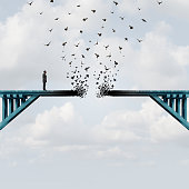 Lost opportunity as a businessman with a broken bridge as a business challenge concept with 3D illustration elements.