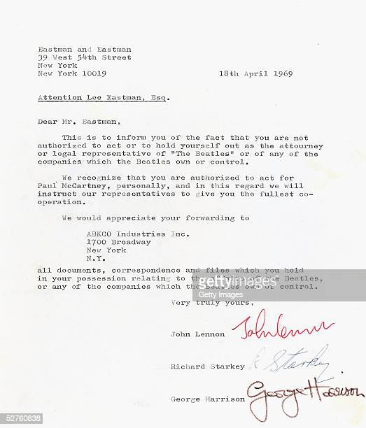 Lot 298 a letter from 3 of the Beatles dated 18 April 1969 to Lee Eastman showing evidence of one of the major catalysts behind the disbanding of The...