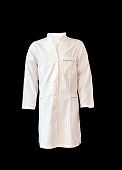 medical white coat isolated on black background, cut out from mannequin or modeling doll
