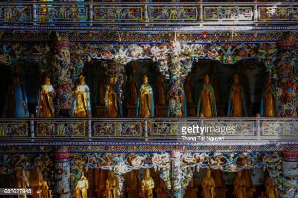 Lot of budda in ceramic pagoda, Dalat, Vietnam