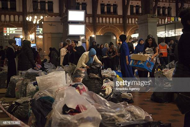 A lot of clothes and food has been gathered and organized by people volunteering to help the Syrian refugees on September 10 2015 at Copenhagen...