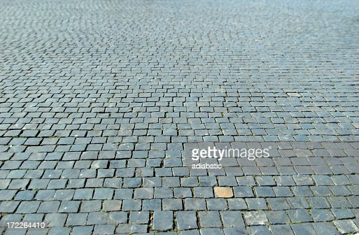 A lot of cobblestones in a street
