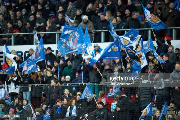 A lot of flags from the fans of FC Copenhagen prior to the Danish Alka Superliga match between FC Copenhagen and Esbjerg fB at Telia Parken Stadium...