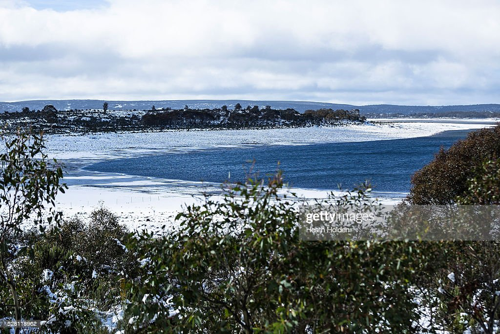 A lot of snowfall and rain will be needed to help water levels rise at the lake on May 4, 2016 in Great Lake, Australia. Heavy snow and rain fall in the area has seen much needed water flow into the lake. Tasmania's dams are at record lows due to lower than average rainfall with storage levels of dams used to generate hydro power below 15 per cent for the first time.