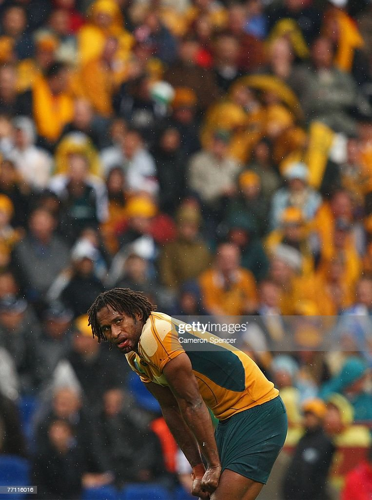 Lote Tuqiri of Australia looks on during the IRB Rugby World Cup Pool B match between Australia and Canada at Stade ChabanDelmas September 29 2007 in...