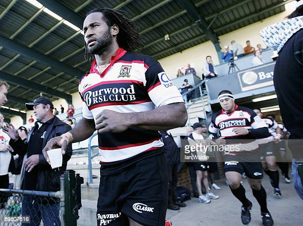 Lote Tuqiri of West Harbour runs onto the field before the round 20 Shute Shield match between Warringah and West Harbour on at Pittwater Rugby Park...
