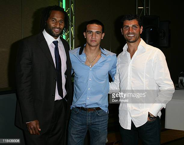 Lote Tuqiri Tim Cahill and John Aloisi attend the 'Stuff That Rocks' Gift Villa at the Hilton Hotel on April 24 2008 in Sydney Australia