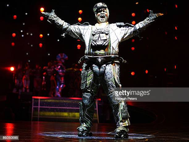 Lothair Eaton who plays the character 'Poppa' in 'Starlight Express' appears on stage during the show's Auckland opening night at Vector Arena on...